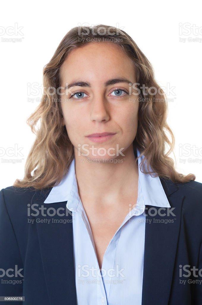 Passport photo of blond businesswoman with blue eyes and blazer stock photo