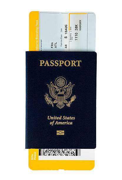 us passport - aeroplane ticket stock photos and pictures