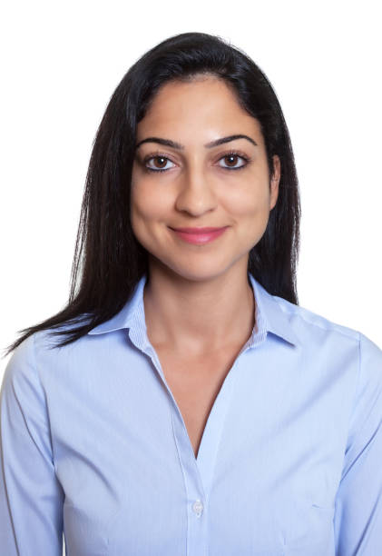 Passport picture of a smiling turkish businesswoman stock photo