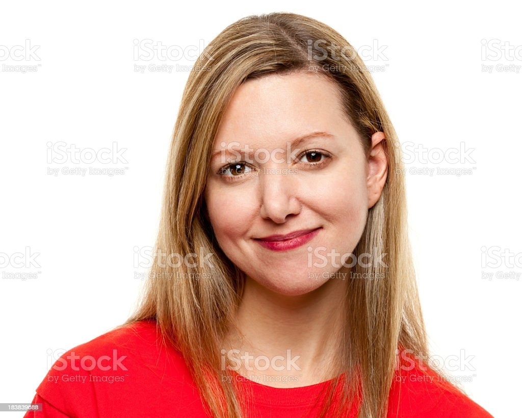 A passport portrait of a young woman in red T-shirt royalty-free stock photo