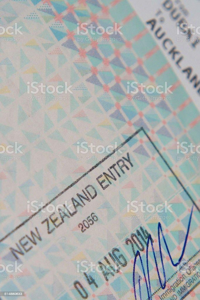 Passport stamp flight ticket stock photo