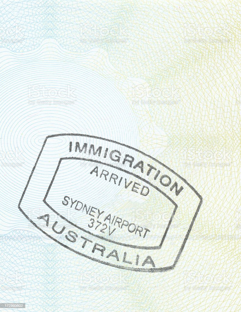 Passport stamp from Sydney Airport in Australia stock photo