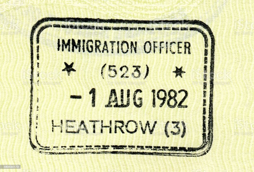 Passport Stamp - Heathrow royalty-free stock photo