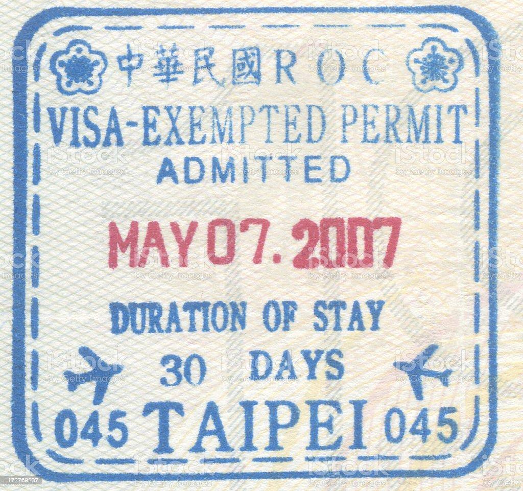 Passport Stamp Taipei royalty-free stock photo