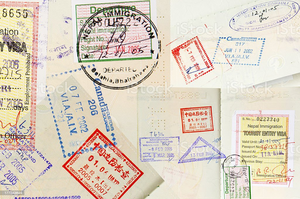 Passport Stamps Background stock photo