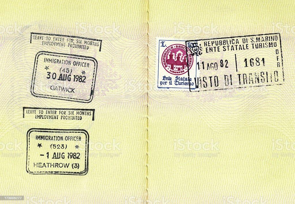 Passport Stamps - Gatwick, Heathrow royalty-free stock photo
