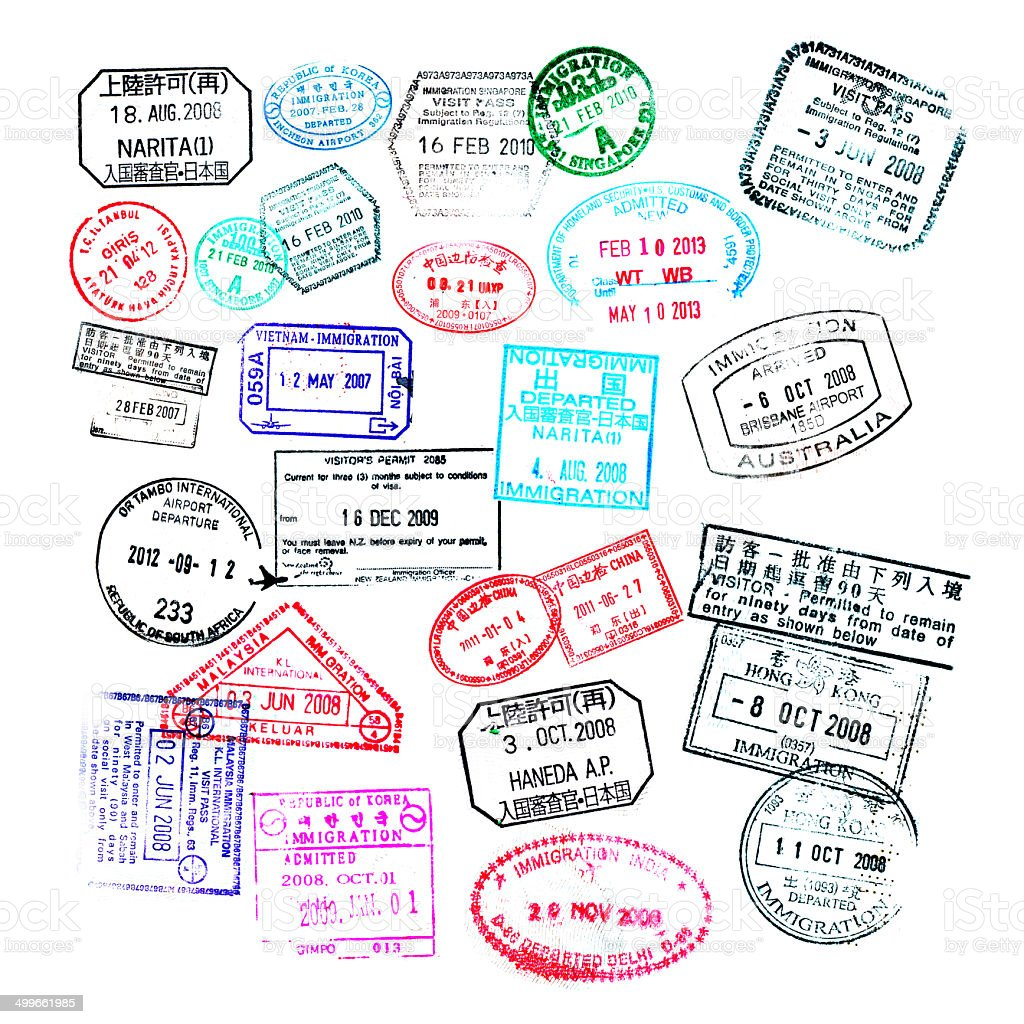Passport stamps  isolated on white background stock photo