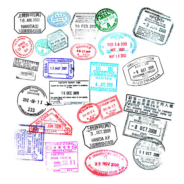 Passport stamps  isolated on white background Passport stamps  isolated on white background passport stamp stock pictures, royalty-free photos & images