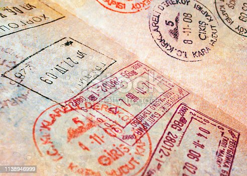Passport page with border stamps - tourism background