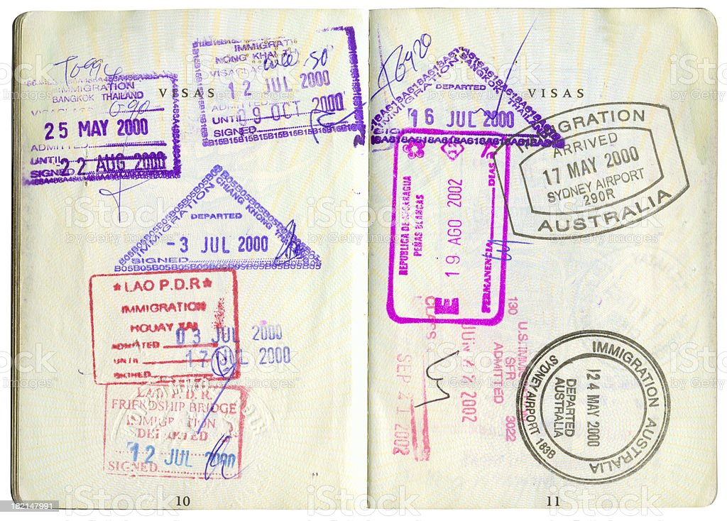passport stamps-2 stock photo