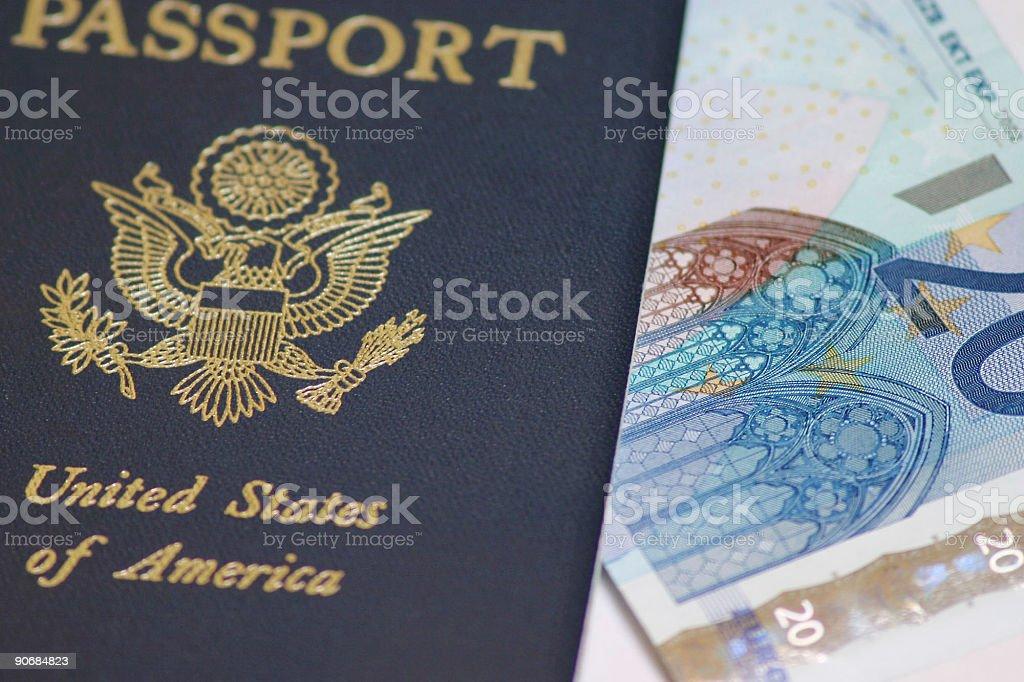 Passport to Euros royalty-free stock photo
