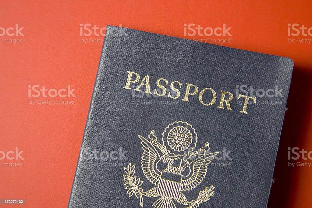 US Passport top red background royalty-free stock photo