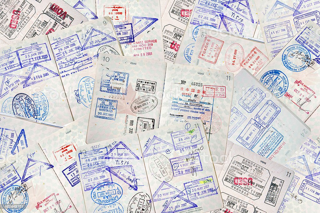Passport Travel Stamps stock photo