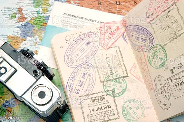 Passport travel stamps with a camera and world map picture id172282144?b=1&k=6&m=172282144&s=612x612&h=7qjre8xwnfv kaqzauz3kxbqnejuwlpwn2jb3388oxa=