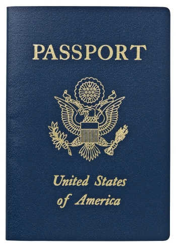 Passport from the United States of America on white background. Clipping Path.