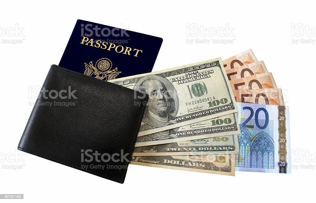 Passport Wallet Dollars Euro