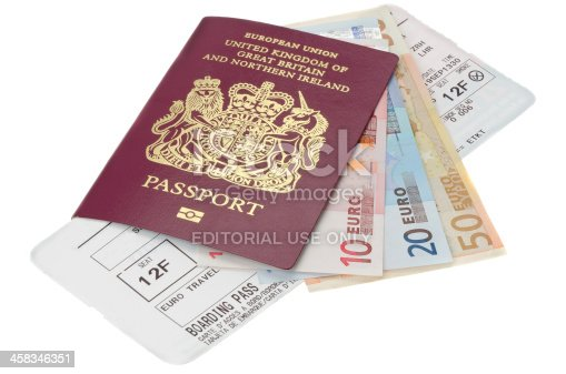 istock Passport with Euro money and airline boarding card 458346351