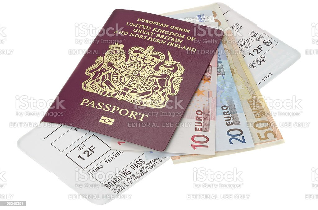 Passport with Euro money and airline boarding card stock photo