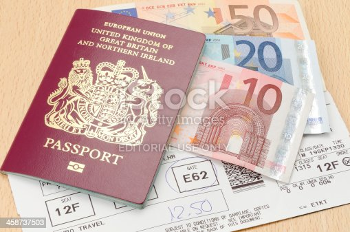 istock Passport with Euro money and airline boarding card 458737503