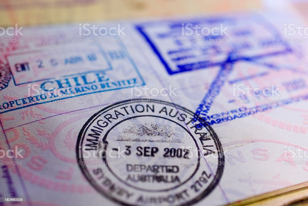 A passport with many travel stamps, including Australia stock photo