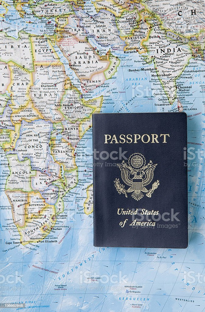 US passport with map royalty-free stock photo