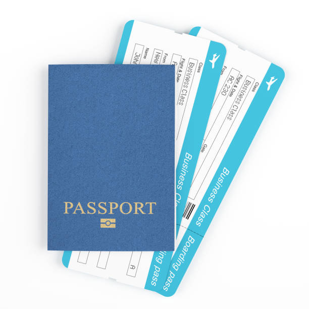 passport with plane tickets - aeroplane ticket stock photos and pictures