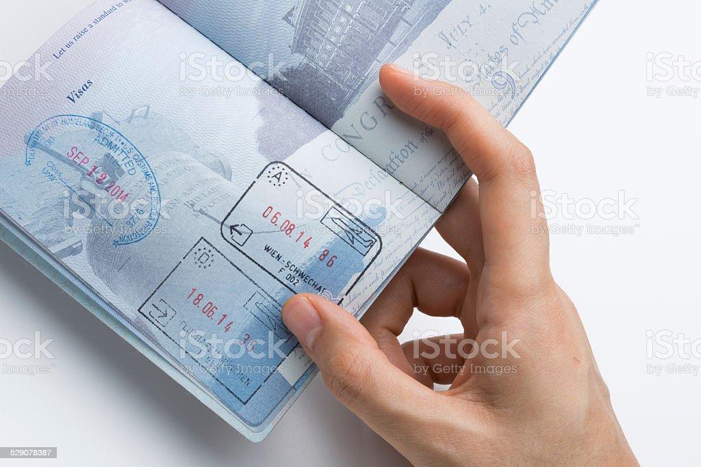 Charmant Reisepass Mit Schengen Und USA Briefmarken Lizenzfreies Stock Foto