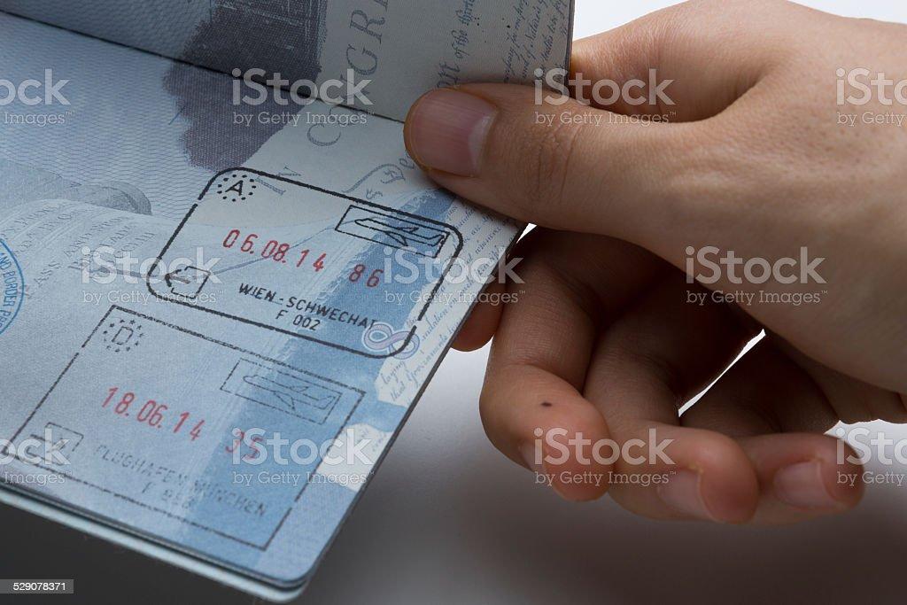 U.S. Passport with Schengen stamps stock photo