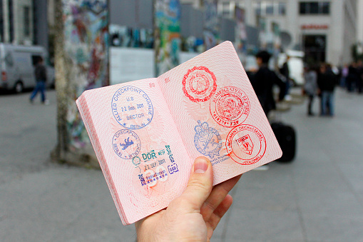 Passport with stamps.