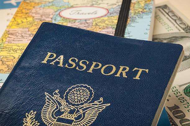 Passport with travel documents stock photo