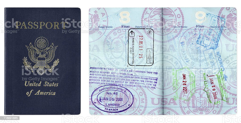 US passport with travel visas stock photo
