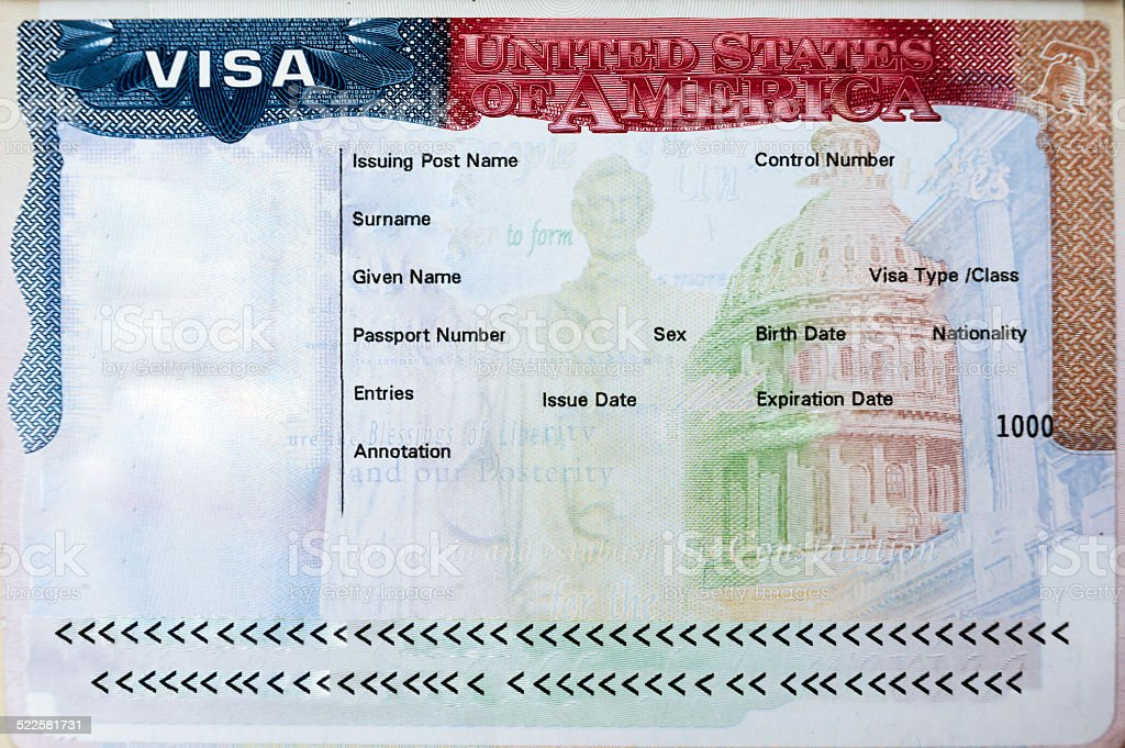 Passport with USA visa stock photo