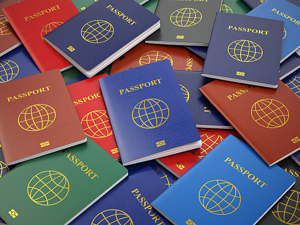 Passports, different types. Travel turism or customs concept bac stock photo