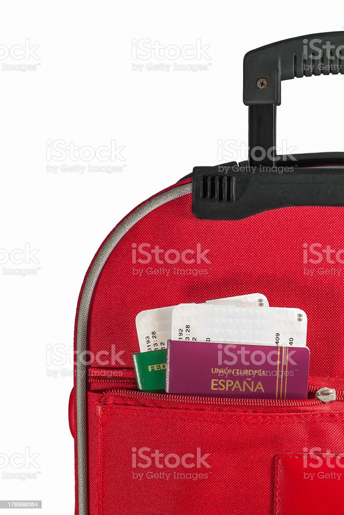 Passports in suitcase pocket royalty-free stock photo