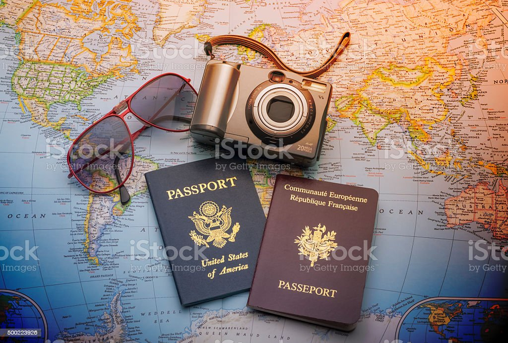 Passports to world travel stock photo