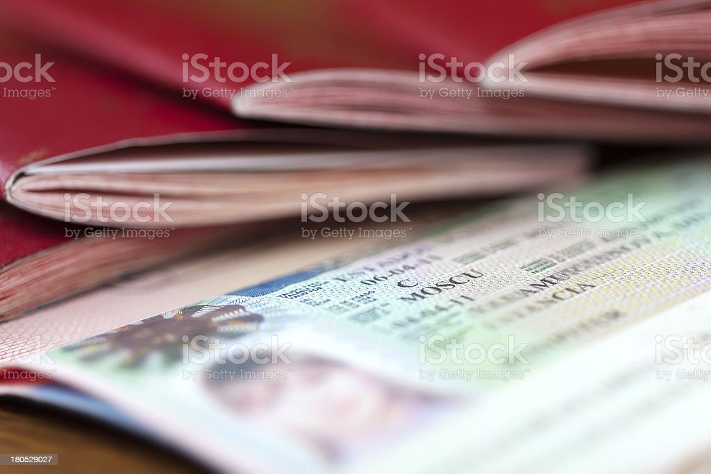 passports witn Schengen visa stock photo