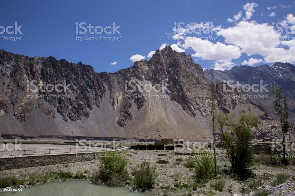 Passu peak at the Karakoram Highway stock photo