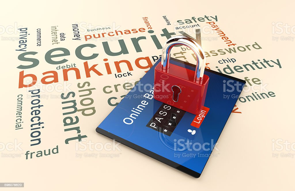 Password and login, shopping, banking operation on digital tablet. stock photo