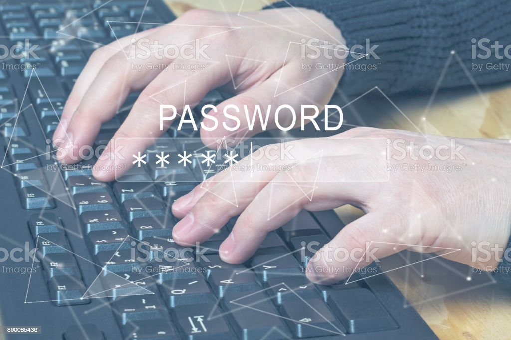 Password Box in Internet Browser, hands typing on computer keyboard. stock photo