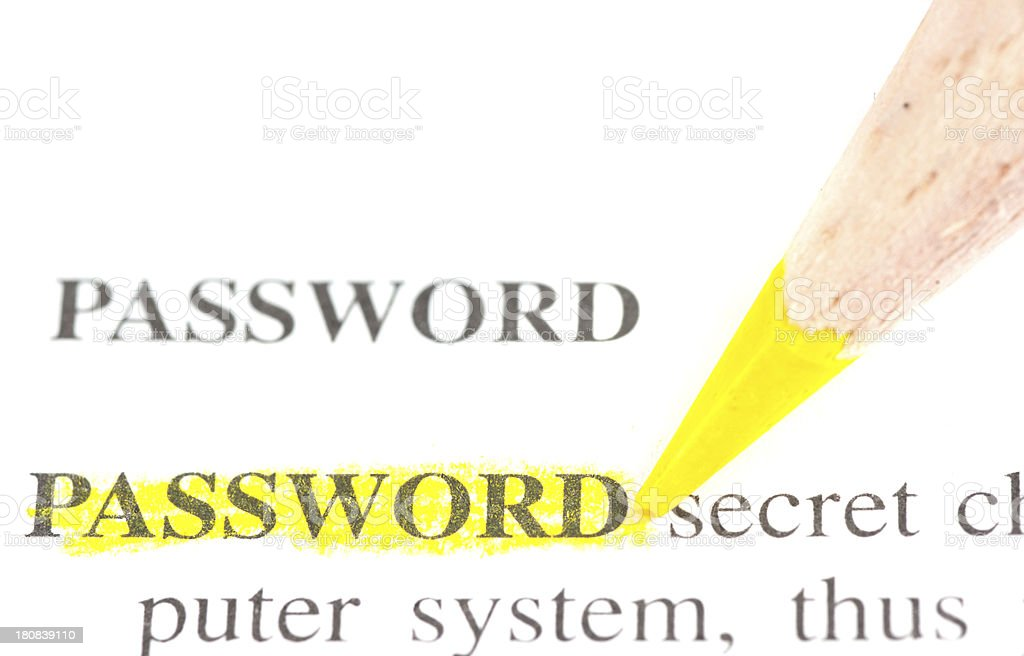 password defintion word marked in dictionary stock photo