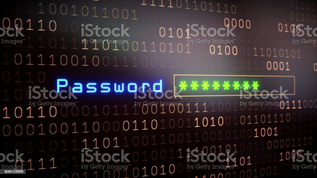 Password Input Field on Binary stock photo
