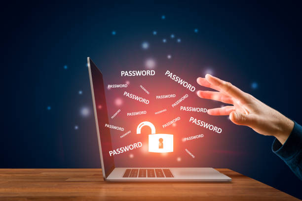 Password leakage and cybersecurity concept stock photo