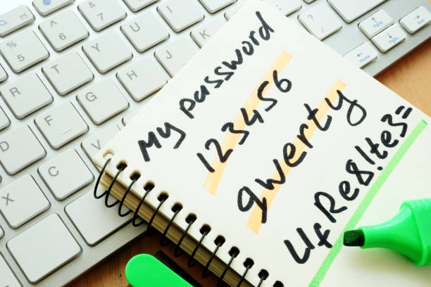 Password management. Weak and strong password. stock photo