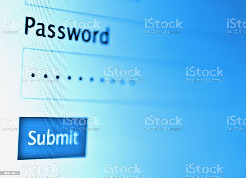 password on monitor screen stock photo
