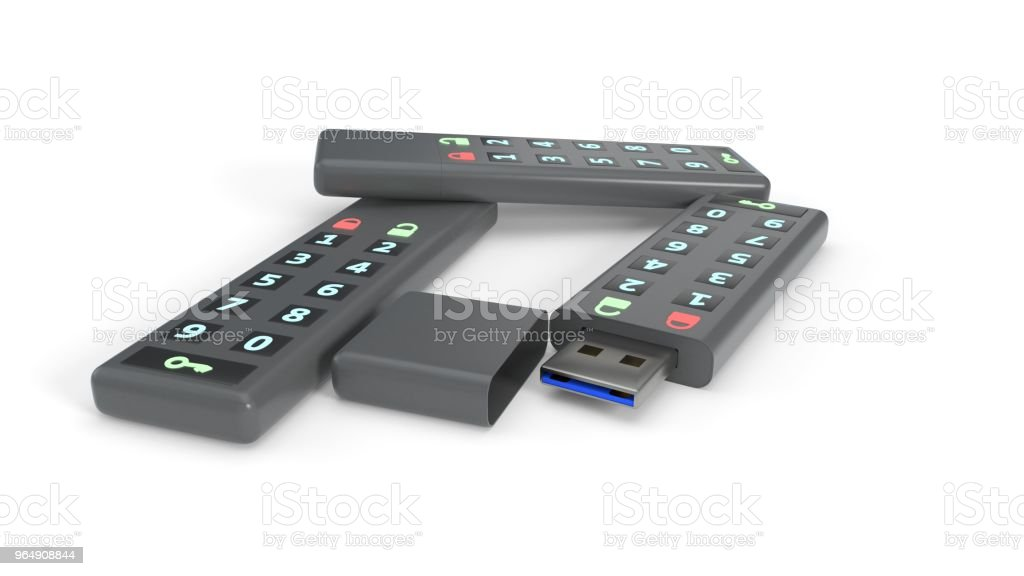 Password protected flash drives on white background, 3d rendering royalty-free stock photo