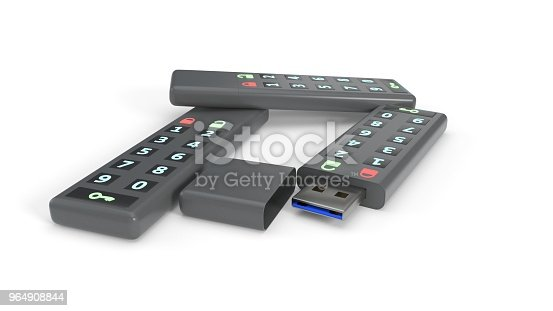 Password Protected Flash Drives On White Background 3d Rendering Stock Photo & More Pictures of Black Color