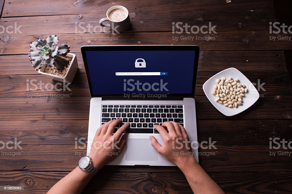 Password protected to login on the computer screen stock photo