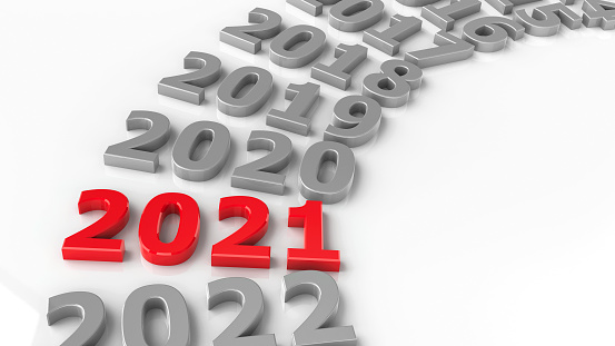 2021 past in the circle represents the new year 2021, three-dimensional rendering, 3D illustration
