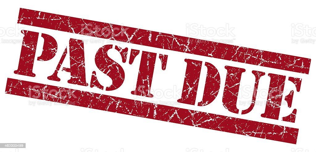 Past Due grunge red stamp stock photo