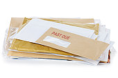 """Post with a red """"past due"""" stamp. Partially visible address on the top envelope is lorem ipsum text."""